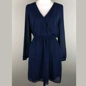 New Express V-Neck Long Sleeve Blouson Dress